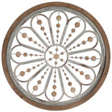 flower beads circle metal wall decor