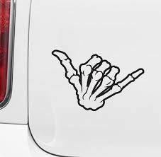 Car Skeleton Hand Shaka Vinyl Car Decal Sticker 5 5 W X 3 5 H C Yydc Color Choices Shaka Tattoo Skeleton Hand Tattoo Skeleton Tattoos
