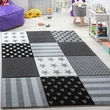 Star Nursery Rug Grey Black White Kids Room Carpet Childrens Play Checkered Mats Ebay
