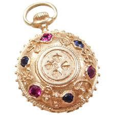 jeweled pocket watch charm 14k gold