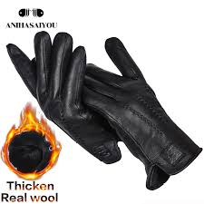 gloves wool thick lining leather glove