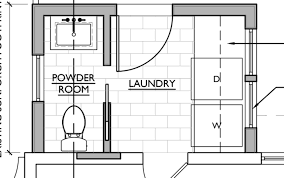 floor plan for half bath and laundry
