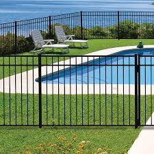 Shop Freedom Pre Assembled New Haven Black Aluminum Decorative Metal Fence Panel Common 6 Ft X 4 5 Ft Actual Pool Fence Aluminum Pool Fence Fence Design