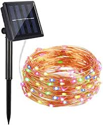 Solar String Lights Ayy 4 Colors 100 Led 33ft Starry Outdoor String Lights Waterproof Copper Wire Fairy Decorative Light For Patio Garden Fence Gate Yard Party Wedding Multicolor Amazon Com