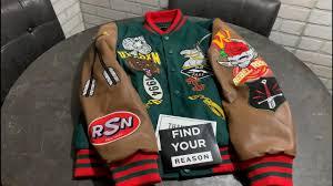 reason clothing stacked varsity jacket
