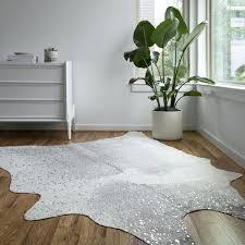 grey silver faux cowhide rug cow skin