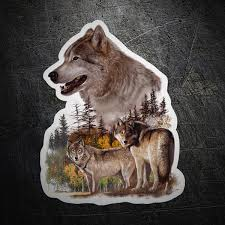Sticker Couple Of Wolves Muraldecal Com