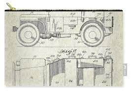Patent Drawing for the 1942 Willys JEEP Military Vehicle Body by Byron Q.  Jones Carry-all Pouch for Sale by StockPhotosArt Com