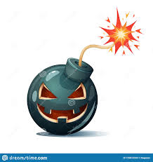 Cartoon Bomb, Pumpkin Characters. Halloween Illustration. Stock ...