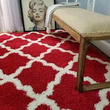 Amazon Com Shag Area Rug 3x5 New Moroccan Trellis Red Shag Rugs For Living Room Bedroom Nursery Kids College Dorm Carpet By European Made Mh10 Maxy Home Kitchen Dining