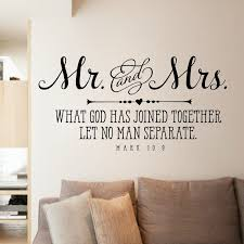 Mr And Mrs Wall Sticker Christian Quote Bible Verse About Love Couple Bedroom Home Decor Wedding Decals Vinyl Wall Art Murals Wall Stickers Aliexpress