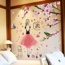 Cartoon Girl Wall Stickers Diy Peach Flowers Wall Decals For Kids Rooms Living Room Nursery Home Decoration Wall Stickers Aliexpress