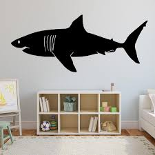 Shark Wall Decal Great White Shark Silouette Home Decor Etsy