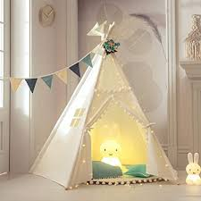 Amazon Com Treebud Kids Teepee Play Tent With Mat Indoor Outdoor Five Poles Indian Tents Toddlers Boys Girls Playhouse Pompom Lace Cotton Canvas Tipi With Carry Bag Toys Games