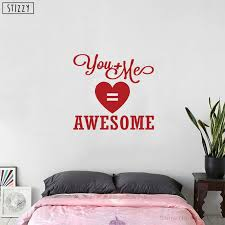 Stizzy Wall Decal Art Wedding Decoration Quote You And Me Equals Awesome Vinyl Wall Stickers Wood Board Bedroom Diy Decor B250 Wall Stickers Aliexpress
