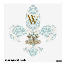 Turquoise Cream Damask Fleur De Lis Wall Decal Zazzle Com