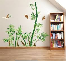 Amazon Com Ufengke Green Bamboo And Flying Birds Wall Decals Living Room Bedroom Removable Wall Stickers Murals Kitchen Dining