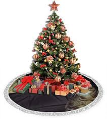 Amazon Com Shangcai Cat On The Fence Under The Moon Christmas Tree Skirt For Christmas Decorations For Xmas Party And Holiday Decorations 36 Home Kitchen