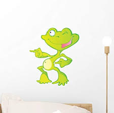 Amazon Com Wallmonkeys Cute Green Cartoon Frog Wall Decal Peel And Stick Graphic 12 In H X 10 In W Wm295706 Home Kitchen