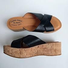 black leather crisscross wedge sandal