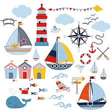 Amazon Com Sail Away Nursery Kids Room Decorative Peel Stick Wall Art Sticker Decals For Babies Infants Toddlers Baby