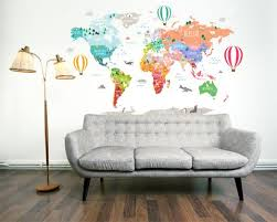 Hot Air Balloon World Map Decal Clear Vinyl Decal Nursery Room Dec Walls2lifedecals