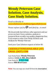 Case Solution for Wendy Peterson by Case Solution and Analysis - issuu