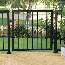 Peak Aluminum Railing 3 5 6 Ft X 3 1 3 Ft Black Aluminum Single Walk Through Picket Gate 50161 The Home Patio Gates Metal Garden Gates Aluminum Fence Gate
