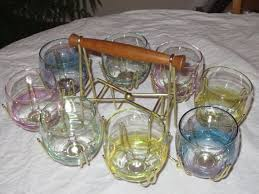 drink glass set with metal carrier