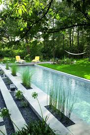 small narrow pools with bamboo plants