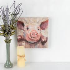 Pig At Fence Painted Canvas Wall Art Canvas 12 X 12 X 1 5 16 Inches Mardel