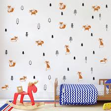 Funny Fox In The Forest Wall Sticker For Kids Rooms Decoration Woodland Animasl Tree Wall Art Decals Murals Nordic Home Decor Wall Stickers Aliexpress