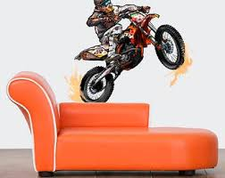 Dirt Bike Wall Decals Dirt Bike Wall Sticker Motocross Wall Etsy