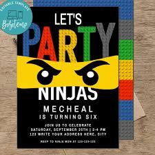 Invitaciones De Cumpleanos De Lego Ninjago Para Imprimir