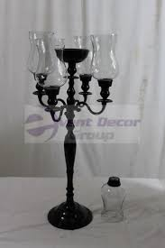 5 arm candelabra with glass hurricane