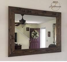 farmhouse wood frame mirror rustic wood