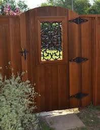 Wooden Gates With Wrought Iron Inserts Google Search Fence Design Wood Fence Gates Privacy Fence Designs