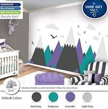 Amazon Com Mountain Lavander Turquoise Wall Decal For Nursery Kid Room High Quality Removable Sticker Eagles Pine Trees Clouds Adventure Deca Handmade