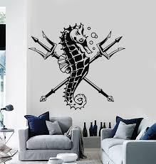 Vinyl Wall Decal Trident Seahorse Animal Marine Ocean Sea Stickers Mur Wallstickers4you