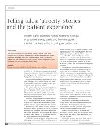 PDF) Carter Melody (2010) Telling Tales: atrocity stories and the patient  experience Nursing Management February 2010 16 (9) 28-31