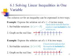 6 1 solving linear inequalities in one