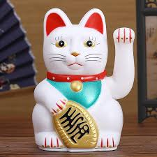 Chinese Feng Shui Beckoning Cat Wealth White Waving Fortune Lucky Cat 6h Gold Silver Best Gift For Good Luck Kitty Decor A627