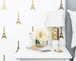 Eiffel Tower Decals Paris Wall Decal Vinyl Wall Decals Metallic Decals Gold Wall Decor Nursery Decals Wall Stickers
