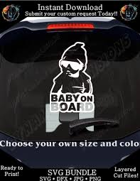 Hoodie Baby On Board Funny Car Decal Files Silhouette Cameo Svg Jpg Dx Dynamic Dimensions
