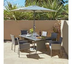 rattan effect grey 6 seater patio set