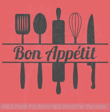 Bon Appetit With Utensils Kitchen Quotes Wall Decal Sticker