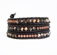 women s rose gold leather wrap bracelet