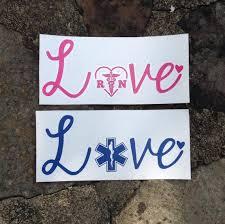 Nurse Paramedic Love Vinyl Decal Car Window Decal Decal Etsy