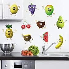 Amazon Com Decalmile Kitchen Fruit Wall Decals Banana Lemon Mango Emoji Wall Stickers Kids Room Dining Room Kitchen Wall Art Decor Home Kitchen