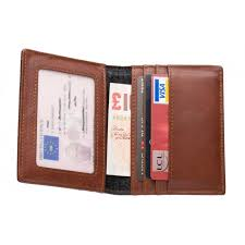 brown leather compact wallet